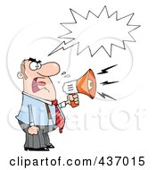 Royalty Free RF Clipart Illustration Of A Caucasian Businessman Yelling Through A Megaphone With A Speech Balloon