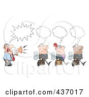 Royalty Free RF Clipart Illustration Of A Caucasian Businessman Shouting After His Wind Up Employees
