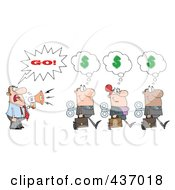 Royalty Free RF Clipart Illustration Of A Caucasian Businessman Shouting Go After His Wind Up Employees