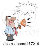 Royalty Free RF Clipart Illustration Of A Hispanic Business Man Yelling Through A Megaphone With A Word Balloon