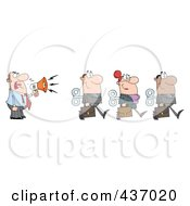 Royalty Free RF Clipart Illustration Of A Caucasian Businessman Yelling After His Wind Up Employees With A Megaphone