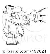 Royalty Free RF Clipart Illustration Of An Outlined Angry Boss Yelling Through A Megaphone