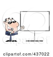 Royalty Free RF Clipart Illustration Of A Caucasian Tv Show Host Presenting A Blank Board by Hit Toon