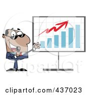 Royalty Free RF Clipart Illustration Of A Hispanic Tv Show Host Presenting A Bar Graph by Hit Toon