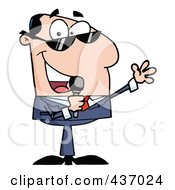 Royalty Free RF Clipart Illustration Of A Caucasian Tv Show Host Talking Through A Microphone by Hit Toon