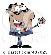 Royalty Free RF Clipart Illustration Of A Hispanic Tv Show Host Talking Through A Microphone by Hit Toon