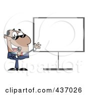 Royalty Free RF Clipart Illustration Of A Hispanic Tv Show Host Presenting A Blank Board by Hit Toon