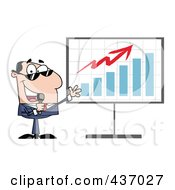 Royalty Free RF Clipart Illustration Of A Caucasian Tv Show Host Presenting A Bar Graph by Hit Toon