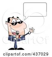 Royalty Free RF Clipart Illustration Of A Caucasian Tv Show Host With A Speech Bubble Talking Through A Microphone by Hit Toon