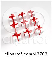 Clipart Illustration Of Nine 3d Red And White Gifts In Rows
