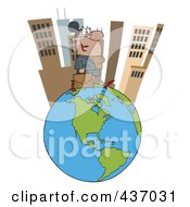 Royalty Free RF Clipart Illustration Of A Hispanic Businesswoman Tall City On Top Of A Globe