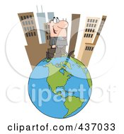 Royalty Free RF Clipart Illustration Of A Caucasian Businessman Walking In A Tall City On Top Of A Globe