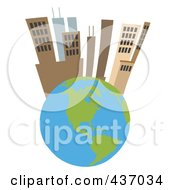 Royalty Free RF Clipart Illustration Of A Tall City On Top Of A Globe