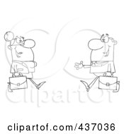 Royalty Free RF Clipart Illustration Of An Outlined Businessman Greeting A Businesswoman by Hit Toon
