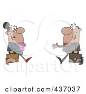 Royalty Free RF Clipart Illustration Of A Black Businessman And Woman Meeting