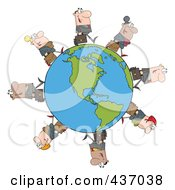 Royalty Free RF Clipart Illustration Of A Business People Walking Around An American Globe by Hit Toon