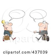 Royalty Free RF Clipart Illustration Of A Caucasian Businessman And Woman Meeting With Speech Balloons by Hit Toon
