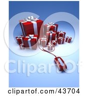 Clipart Illustration Of A Computer Mouse Extending From A Group Of Red Christmas Presents