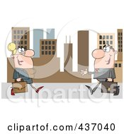 Royalty Free RF Clipart Illustration Of A Caucasian Businessman And Woman Meeting In A City by Hit Toon