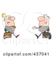 Royalty Free RF Clipart Illustration Of A Caucasian Businessman And Woman Meeting by Hit Toon
