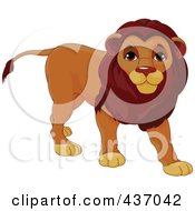 Royalty Free RF Clipart Illustration Of A Cute Male Lion Walking by Pushkin