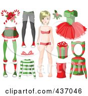 Royalty Free RF Clipart Illustration Of A Digital Collage Of A Christmas Girl With A Gift And Festive Clothing by Pushkin