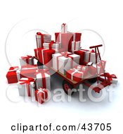 Pallet Truck With Red And White Christmas Gifts Stacked On Top