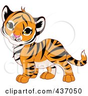 Royalty-Free (RF) Clipart Illustration of a Cute Baby Tiger Tilting His Head by Pushkin