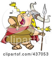 Royalty Free RF Clipart Illustration Of A Blond Female Viking Singing A Song And Holding A Spear by toonaday