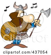 Royalty Free RF Clipart Illustration Of A Cartoon Male Viking Holding An Ax And Shield And Singing by toonaday
