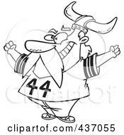 Royalty Free RF Clipart Illustration Of A Black And White Outline Design Of A Viking Fan Wearing A Helmet And Cheering by toonaday