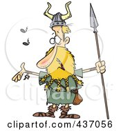 Royalty Free RF Clipart Illustration Of A Skinny Blond Male Viking Holding A Speark And Singing by toonaday