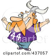 Royalty Free RF Clipart Illustration Of A Viking Fan Wearing A Purple Shirt And Helmet And Cheering