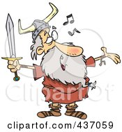 Royalty Free RF Clipart Illustration Of An Old Male Viking Holding A Sword And Singing by toonaday