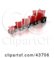 Clipart Illustration Of A Line Of Red Gifts On Wheels