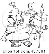 Royalty Free RF Clipart Illustration Of A Black And White Outline Design Of A Female Viking Singing A Song And Holding A Spear by toonaday