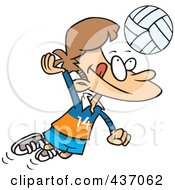 Cartoon Boy Hitting A Volleyball