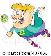 Chubby Female Volleyball Player Jumping To Hit The Ball