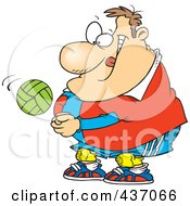 Cartoon Chubby Male Volleyball Player Hitting A Ball