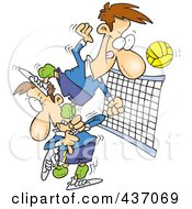 Royalty Free RF Clipart Illustration Of A Cartoon Male Volleyball Player Stepping On A Team Mate To Hit The Ball