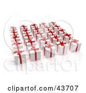 Clipart Illustration Of 3d Presents Wrapped In White With Red Ribbons And Bows
