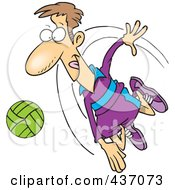 Cartoon Male Volleyball Player Hitting A Ball