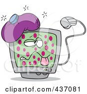 Royalty Free RF Clipart Illustration Of A Sick Cartoon Speckled Computer With A Virus