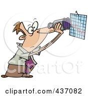 Caucasian Businessman Viewing A Chart With Binoculars