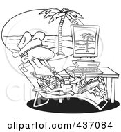 Royalty Free RF Clipart Illustration Of A Black And White Outline Design Of A Man Taking A Virtual Vacation In His Office
