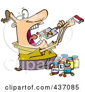 Cartoon Man Shoveling Dietary Supplements Into His Mouth