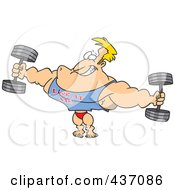 Royalty Free RF Clipart Illustration Of A Bodybuilder Wearing A Look At Me Shirt And Lifting Weights by toonaday