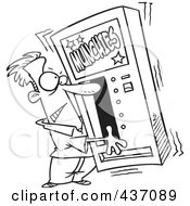 Royalty Free RF Clipart Illustration Of A Black And White Outline Design Of A Man Shaking A Munchies Vending Machine
