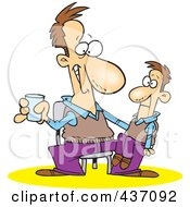 Royalty Free RF Clipart Illustration Of A Performing Man With A Ventriloquist Doll On His Lap by Ron Leishman