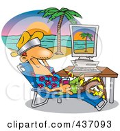 Royalty Free RF Clipart Illustration Of A Cartoon Man Taking A Virtual Vacation In His Office by toonaday